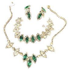 Weiss Emerald Green Necklace Bracelet Earrings Vintage Parure