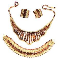 Return to Elegance Kramer Dramatic Collar Necklace Bracelet Earrings Parure