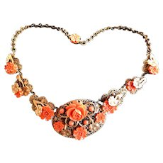 Exquisite Celluloid 1940s Carved  Faux Coral Necklace Must C