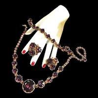 Vintage Classic Amethyst Rhinestone Necklacr Bracelet Earrings