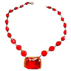 Cherry Red Czech Early 1900s Glass Necklace