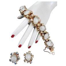 Vintage Crackle Glass 50s Bracelet and Earrings