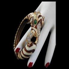 Vintage Ciner Rhinestone and Enamel Zebra Bracelet