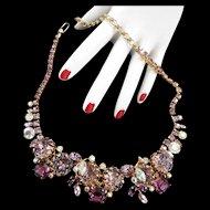 Hiuge Vintage Hobe Amethyst Rhinestone Collar 1950s