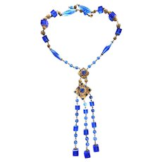 Exquisite 1920s Czech Sapphire Blue Crystal Drippy Necklace