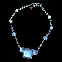 Early 1900s Czech Sapphire Blue Necklace