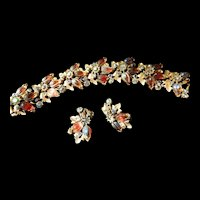 Exquisite Vintage Florenza Watermelon Art Glass bracelet  Earrings
