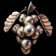 Vintage Grapes Of Wrath Mexican Sterling Silver Brooch
