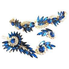 Gorgeous Dazzling Montana Blue Juliana Bracelet Earrings Brooch