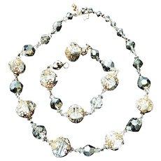 Vendome Elegant Crystal Ball Filigree Vintage Necklace and Bracelet Earrings