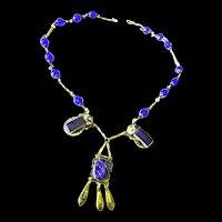 Early 1900s Czech Art Glass Lapis Drippy Necklace