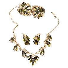 Gorgeous Juliana  Olivine Vintage Parure Necklace Earrings Bracelet
