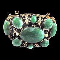 Humongous Faux Jade Designer Vintage Bracelet