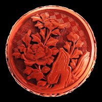 Chinese Export Carved Carnelian Jewelry Box Vintage