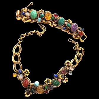 Exceptional Scarab Heavy Museum Quality Egyptian Parure Early 1900s
