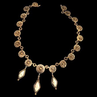 1800s Victorian Cannentile Carved Cameo Drippy Necklace Gorgeous