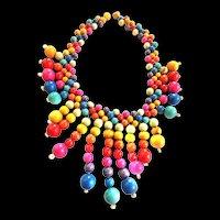 Fun Fun Fun Wood Collar Necklace 1950s