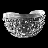 Exquisite Tibetian Cuff Bracelet Vintage Highly Detailed
