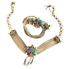 Vintage Mogul Faux Stones Drippy Necklace Bracelet and Earrings Parure