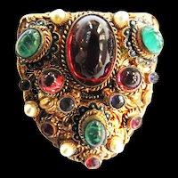 Vintage Czech Early 1900s  Cabochon Glass Clip Brooch