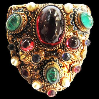 Vintage Czech Early 1900s  Cabochon Glass Clip Brooch
