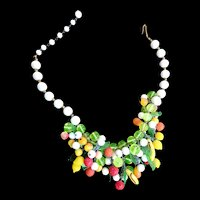 Fabulous Milkglass and drippy fruit Vintage Necklace Designer