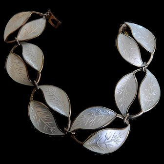 David Andersen Enamel and Silver Leaf Bracelet