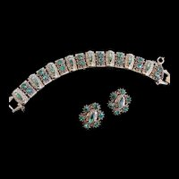 Old World Design Florenza Peridot Rhinestone Bracelet and Earrings 1950s