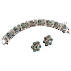 Old World Design Florenza Peridot Rhinestone Bracelet and Earrings 1950s