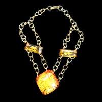 Vintage Bakelite Festoon Necklace Reversed Carved