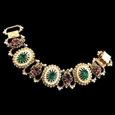Victorian Revival Etruscan Faux Pearl Emerald and Amethyst Rhinestone Bracelet