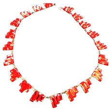 Early 1900s Step Glass Red Necklace
