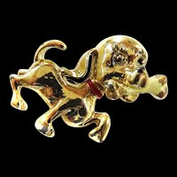 Gold Tone Puppy with Bone Pin Vintage