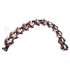 Fabulous Regency Siam Red and Amethyst Rhinestone Vintage Bracelet