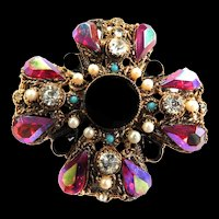 Designer Rhinestone Huge Maltese Brooch Faux Pearls and Turquoise