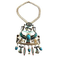 Vintage Massive Egyptian Horus Necklace Must C