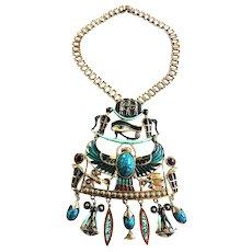 Vintage Massive Egyptian Horus Necklace Must C
