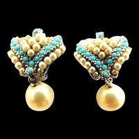 Vintage Ciner Earrings Faux Pearl and Turquoise Bead