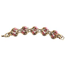 Pretty in Pink Faux Pearls and Opals Vintage Bracelet