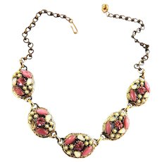 Pretty on Pink Vintage Necklace Faux Opals and Pearls