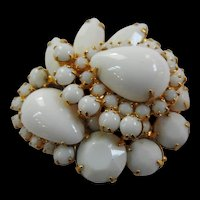 Juliana Large Layered White Milkglass Brooch