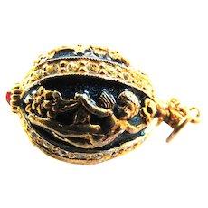 Heavy Faux Faberge Egg Charm Enamel and Rhinestones Vintage