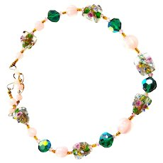 Beauitiful  Art Glass  Cubes and Beads Necklace Vintage