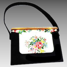 Vintage Veloupte Faille Evening Bag and Compact 1930s