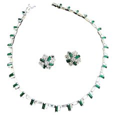 Classic Vintage 50s Beauty Hobe Emerald Green Necklace and Earrings Demi