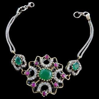 Exquisite Vintage Faux Stone Bracelet  Must C Sterling Silver