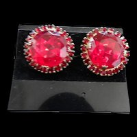 Big Chunky Cherry Red Vintage Clip Earrings