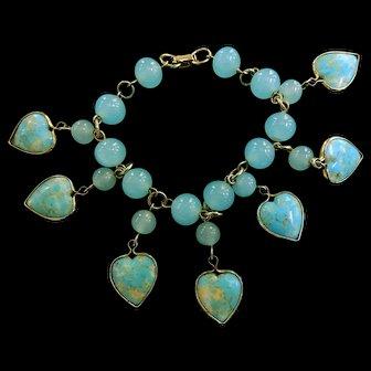 Charmed I am Sure Robin Egg Blue Heart Charm Bracelet