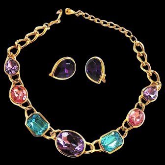 Big Chunky Glass Stone Trifari Vintage Necklace and Earrings