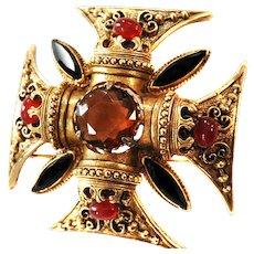 Florenza Topaz Carnelian Brooch and Earrings Maltese Cross